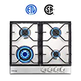 24' Gas Cooktop, GASLAND Chef GH60SF 4 Burners Built-in Gas Hob, 24 Inch Stainless Steel Propane Natural Gas Stovetop, LPG/NG Convertible Gas Range, Gas Cooker with Thermocouple Protection
