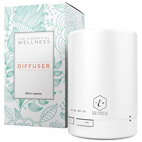 Essential Oil Diffuser Humidifier (300 ml) BPA Free Air Diffusers for Essential Oils - Light Therapy & Aromatherapy Diffuser Air Humidifier - Auto Shut Off with 4 Timer Settings & 7 Mood Color Lights