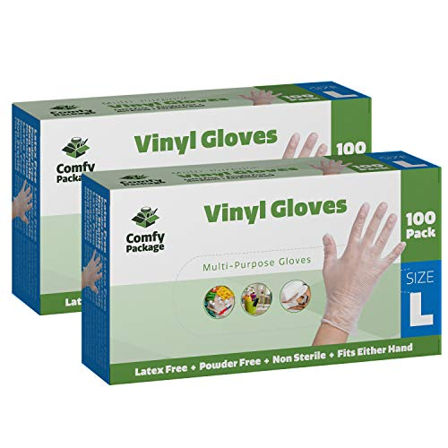 Comfy Package Clear Powder Free Vinyl Disposable Plastic Gloves [200 Pack] - Large