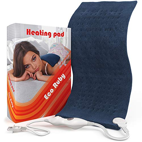 Eco Ruby Electric Heating Pad for Back Pain and Cramps Relief – Extra Large – Auto Shut Off – Heat Pad with Moist & Dry Heat Therapy Options – Hot Heating Pad [12×24″]