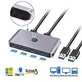 USB 3.0 KVM-Switches, USB 3.0 Peripheral Sharing Box Hub, 2 Computer USB 3.0-Switch-Auswahl mit 6 Anschlüssen, Anwendung für Maus, Tastatur, Scanner und Drucker, Kompatibel mit Windows / Mac / Linux