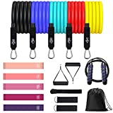 Resistance Bands Set 17PCS, Exercise Workout Bands for Men & Women with 5 Resistance Loop Bands, Jump Rope, Door Anchor, Handles, Legs Ankle Straps, Carry Bag for Resistance Training/Home Workout/Yoga