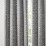 Bedsure Grey Blackout Curtains 84 inch Length 2 Panels Set - Thermal Insulated Curtains with Grommets, Modern Patterned Rhombus Printed Curtains for Living Room, 52x84 inches