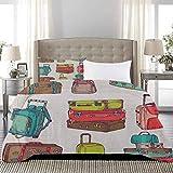 UNOSEKS LANZON Funda de edredón colorida para maletas, diseño inspirado en las vacaciones, viajes al extranjero, diseño de ilustraciones, muy simple pero hermoso, multicolor, tamaño completo