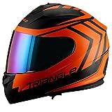 Triangle motorcycle full face dual Visor helmets (Small, Matte Black/Orange)