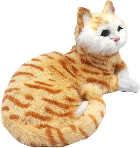 SAVERSMALL Lifelike Cat, Realistic Cat, Fur Kitten, Tabby Cat Toy, Kitty Figurine, Home Decor, Photo Prop, Furry Animal, for Alzheimer Disease, Dementia Memory Loss Older Mom Grandma Grandpa
