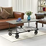 FirsTime & Co. Winfield Industrial Cart Coffee Table, American Crafted, Dark silver, 44.5 x 21.5 x 20.5 ,