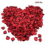FUJIE 1200 Pièces Pétales Roses Artificielles Rouges en Soie Confetti...
