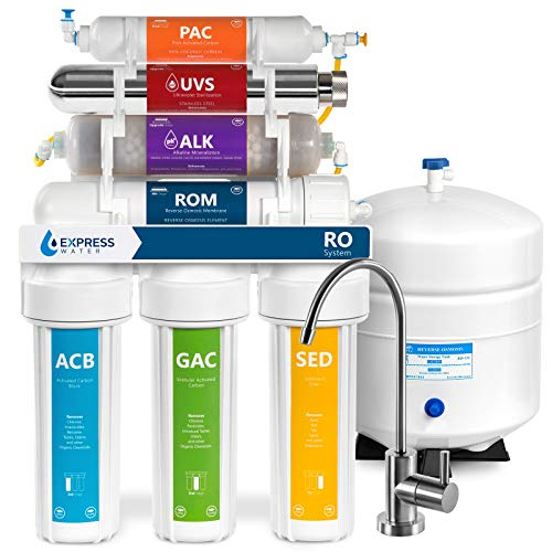 Express Water UV Reverse Osmosis Water Filtration System  11 Stage UV Water Filter with Faucet and Tank  Under Sink Water Filter  with Alkaline Filter for Added Essential Minerals  100 GDP
