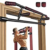 Gruper Pull Up Bar for Doorway, No Screw Chin Up Bar for Home Workout, Training Equipment for Men, Ergonomic Design Hand Bar with Anti-Slip NBR Foam Covered, Bonus Wrist Straps, Fits Most of Doors