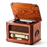 Shuman 7 y 1 Retro Madera Radio con FM , Reproductor de CD / MP3, Reproducción Bluetooth,...