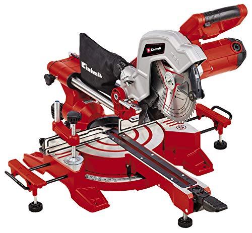 Einhell Scie à onglet radiale TC-SM 216 (1600 W, table pivotante à réglage rapide et butées d'angles, laser, extensions latérales, blocage d'arbre «Spindle-Lock», avec lame aux carbures de tungstène)