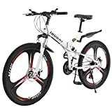 Gottifusion Adults Folding Mountain Bike,26 Inch Mountain Bike with 21 Speed Dual Disc Brakes Full Suspension Non-Slip,Outdoor Racing Cycling,High Carbon Steel Frame,Fast-Speed (A)