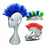 3T-SISTER Helmet Mohawk Wig Motorcycle Adhesive Mohawk Hair Patches Skinhead Costumes Wig (Blue)
