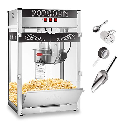 Olde Midway Commercial Popcorn Machine Maker Popper with Extra Large 16-Ounce Kettle - Black