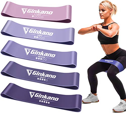 Haquno Elastici Fitness[Set di 5],Fascia Elastici Fitness Elastica per Il Fitness in Lattice Naturale,utilizzata per l'allenamento della Forza,Bodybuilding,Yoga,Pilates