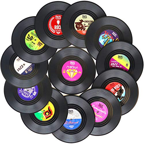 Funny Coasters for Drinks   Set of 12 Vinyl Records Disk...
