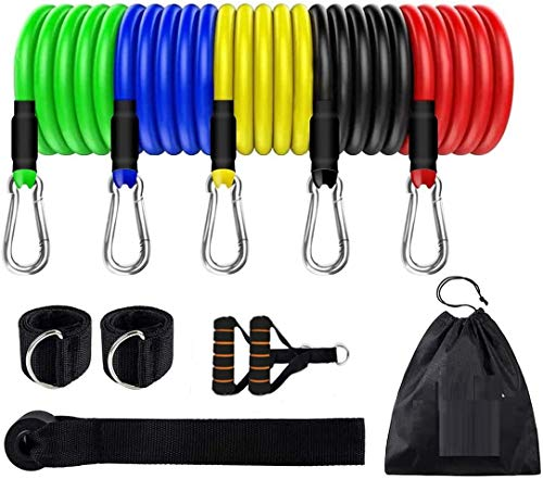 LALA Life Resistance Bands Set – Include 5 Stack able Exercise Bands with Carry Bag, Door Anchor Attachment,