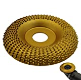 Winbyoan 7/8' Bore Wood Carving Disc Angle Grinder Disc Wood Grinding Shaping Wheel Wood Grinder Shaping Disc Fit Angle Grinders with 5/8'-11 Spindle (4Inch, Arc Type, Gold)