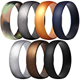 ThunderFit Silicone Rings, 7 Pack Wedding Bands for Men & Women (Black, Bronze-Men, Gold, Gun Metallic, Camo, Silver, Dark Blue, 9.5-10 (19.8mm))