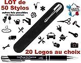 Lot de 50 Stylos personnalisé Logo pour Professionnels – Stylos société goodies - Stylo publicitaire gravé au nom de l'entreprise Objet de communication Cadeau noël fin d'année pour vos clients (Noir)