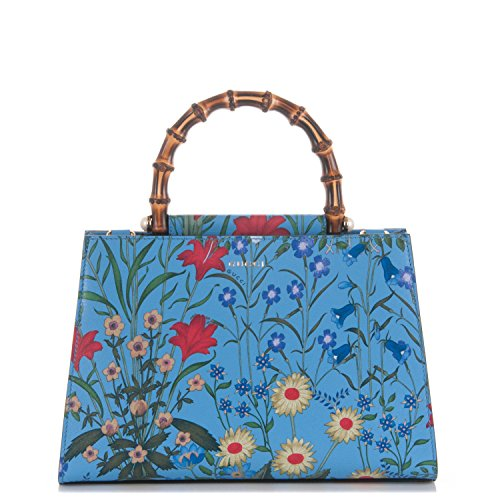 51mqErD sZL Medium Shanghai Azure Floral Nymphae Blue Flower Bag New w Web Stripe Made in Italy. Bamboo and pearl and flower and strap - what more do you need? Matching wallet sold separately. A medium structured leather top handle bag with bamboo handle featuring cream pearl details, referencing Greek and Latin myths surrounding the pearl and water lily-an aquatic plant part of the Nymphaea genus. Made in our natural grain leather with the New Flora print. The New Flora print is a stunning cascade of colorful flowers from every season set against a solid backdrop. Blue New Flora print leather Blue and red nylon Web shoulder strap