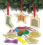Baker Ross Kits de décorations de Noël en bois avec point de croix...