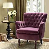 Purple Velvet Tufted Arm Chair/Isabella Small Accent Chair for Lving Room Bedroom - Purple