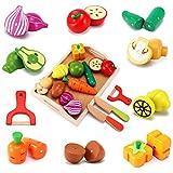 CARLORBO Jouet Cuisine en Bois Nourriture pour Enfants - Aliments Cuisine Couper...