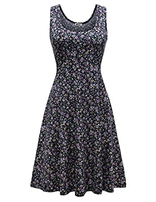 Soild: 95%Cotton / 5%Spandex; Floral: 95%Polyester / 5%Spandex . Have a good amount of stretch. Knee length of the dress make it suitable for all everyday and formal occasions. Simple design make it fashion forever. Standard US Size.An adorable fit a...