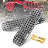 BUNKER INDUST Off-Road Traction Boards with Jack Base, 1 Pair Recovery Tracks Mat for 4X4 Jeep Truck Tire Traction-Sand,Mud, Snow Ladder Ramps(Grey)