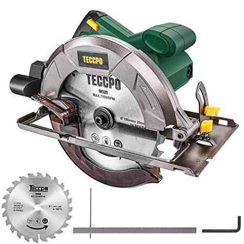 TECCPO Professional Scie Circulaire Électrique, 1200W, 5800 tr/min, Avec Lame de 185mm, 24 Dents, Profondeur de Coupe 63mm (90 °), 45mm (45 °) - TACS22P