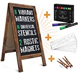 HBCY Creations Rustic Magnetic A-Frame Chalkboard Deluxe Set / 8 Chalk Markers + 10 Stencils + 2...