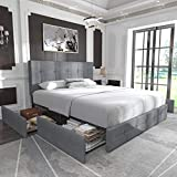 Allewie Queen Platform Bed Frame with 4 Drawers Storage and Headboard, Square Stitched Button Tufted Upholstered Mattress Foundation with Wood Slat Support, No Box Spring Needed, Light Grey