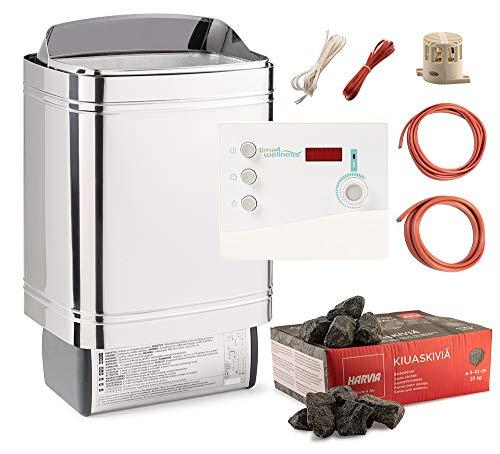 Saunaofen Nordex II 6/8 / 9 kW time4wellness Saunasteuerung K2 mit Vorwahlzeit Saunasteine Ofenkabel (9 kW für Kabine 8-14m³)
