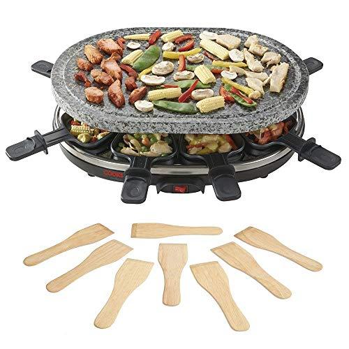 Cooks Professional Stein-Raclette-Grill heiße Plattemit 8 hölzernen Spateln für gesünderes Kochen, 1500W