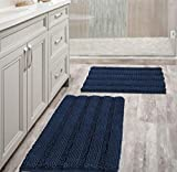 Navy Blue Bathroom Rugs Slip-Resistant Extra Absorbent Soft and Fluffy Striped Bath Mat Set Chenille Bath Rugs, Floor Mats Dry Fast Machine Washable (Set of 2 - 20' x 32'/17' x 24')