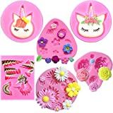 Mini Unicorn Mold,Unicorn Ears Horn Rainbow Flowers and leaf,Silicone cake fondant mold Set,Cupcake Toppers Fondant Chocolate Mold for Unicorn Theme Party and Kids Birthday(6pack)