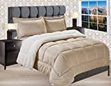 Elegant Comfort Premium Quality Heavy Weight Micromink Sherpa-Backing Reversible Down Alternative Micro-Suede 3-Piece Comforter Set, Queen, Gold