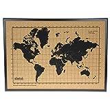 Carte du monde en liège avec cadre en bois noir - Carte du monde pour...