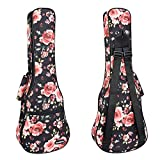 CLOUDMUSIC Ukulele Case For Soprano With Backpack Strap Pink Roses In Black