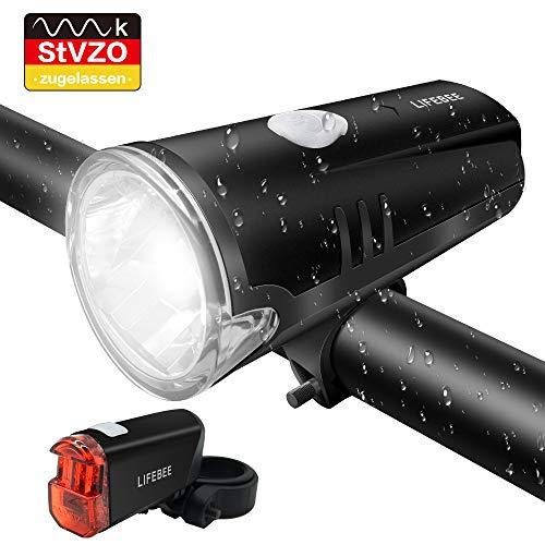 LIFEBEE LED Fahrradlicht, Batterie Fahrradbeleuchtung StVZO Zugelassen Frontlicht und Rücklicht Fahrradlampe Set, 2 Licht-Modi, Regenfest Fahrradlichter für Mountainbike, Batterie Nicht inklusive