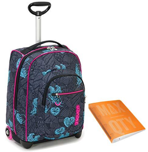 TROLLEY SEVEN + Quaderno ad anell Max Qty, Blu, Girl - 35 LT Scuola e viaggio - Crossover System