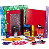 Back To School Bundle Pack   School Supplies Bundle Pack For Kids   Back To School Kit With Notebook, Crayons, Glue Sticks, Pink Erasers, Pencils, Pens, Calculator, Ruler, Highlighter Marker & More