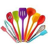 Set utensilios de cocina silicona de colores con Espátula,Cuchara,Cucharon,Espumadera,Batidor de...