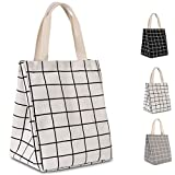HOMESPON Reusable Lunch Bag Insulated Lunch Box Cute Canvas Fabric with Aluminum Foil, Printed Lunch Tote Handbag Fordable for Women,Men,School, Office (White Checkered(long handle)