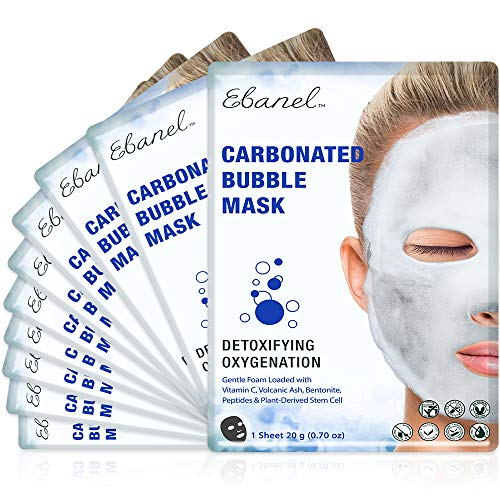 Ebanel Korean Facial Face Bubble Mask Sheet, 10PK, Instant Brightening Hyaluronic Acid and Detoxifying Carbonated Oxygen Foaming with Vitamin C,Peptides for Blackheads Pores Cleansing, All Skin Type