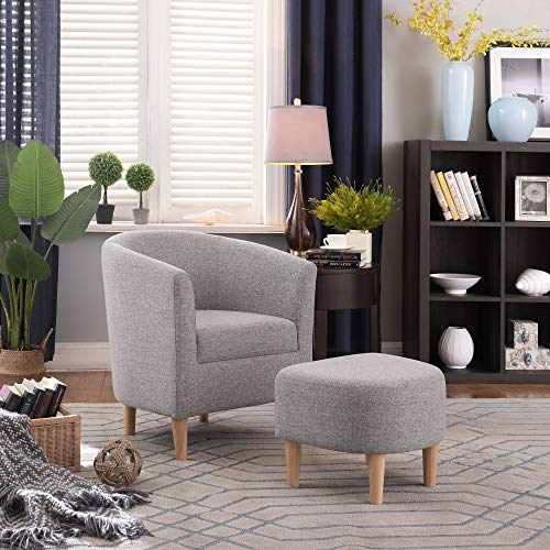 DAZONE Modern Accent Chair Upholstered Comfy Arm Chair Linen Fabric Single Sofa Chair with Ottoman Foot Rest Grey