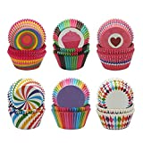 Cupcake Liners, Disposable Paper Baking Cups Rainbow Cupcake Wrappers Nonstick Muffin Cases Molds, 6 Styles Cupcake Liners for Cake Balls, Muffins, Cupcakes and Candies, 600 Pack (Colorful)