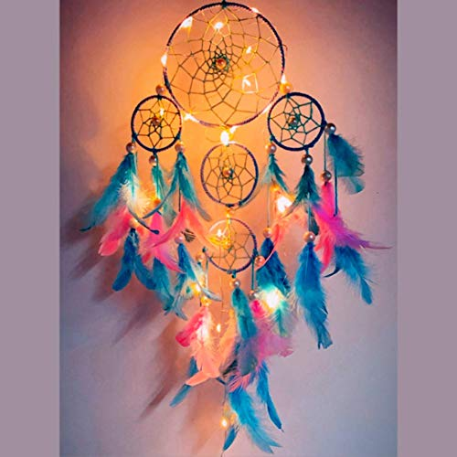 Rooh Dream Catcher ~ Pastel 4 Tier with Pretty Lights ~ Handmade Hangings for Positivity (Can be Used as Home Decor Accents, Wall Hangings, Garden, Car, Outdoor, Bedroom, Windchime) (Pastel)